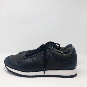 Vans Black Canvas Sneakers Leather Trim 11.5